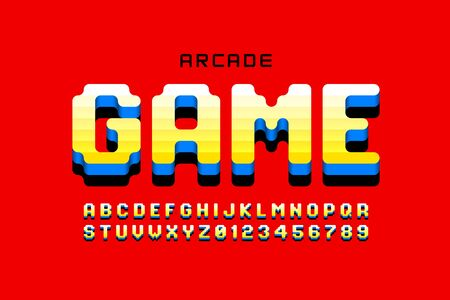 Arcade game style font design, retro 80s video game alphabet, letters and numbers