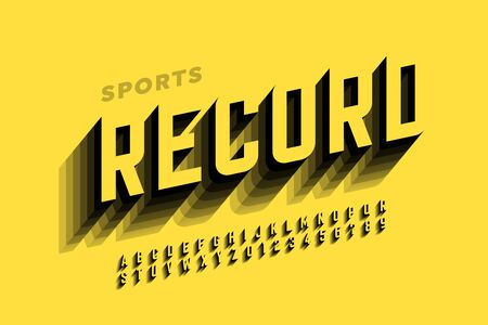 Sport speed style font design, alphabet and numbers