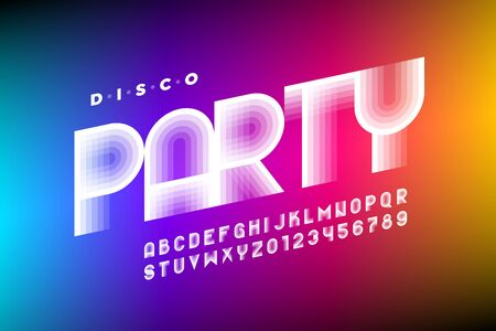 Disco Party 80s style font design, retro alphabet, letters and numbers