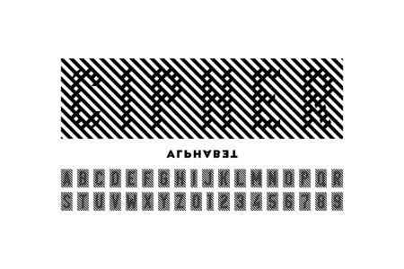 In cipher style font design, alphabet letters and numbers