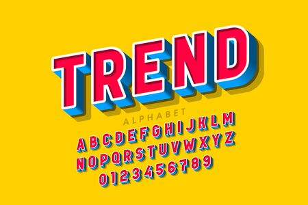 Trendy 3d style font, alphabet letters and numbers Ilustrace