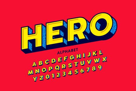 Comics style font design,  hero alphabet, letters and numbers Ilustrace