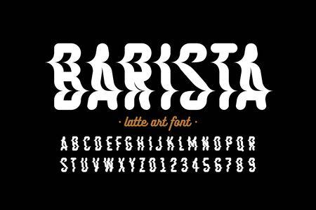 Latte art style font design, milk coffee foam art alphabet, letters and numbers