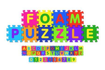 Foam puzzle font design, alphabet letters and numbers Ilustrace