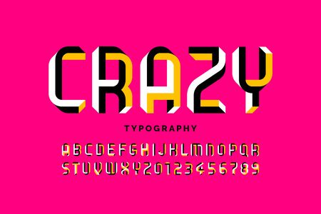 Optical illusion shape font design, alphabet letters and numbers