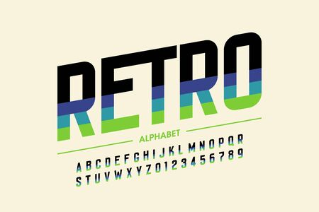 Modern retro style font design, alphabet letters and numbers