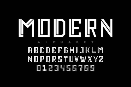 Modern style font design, alphabet letters and numbers Illustration