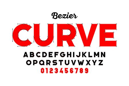 Bezier curves style font design, alphabet letters and numbers