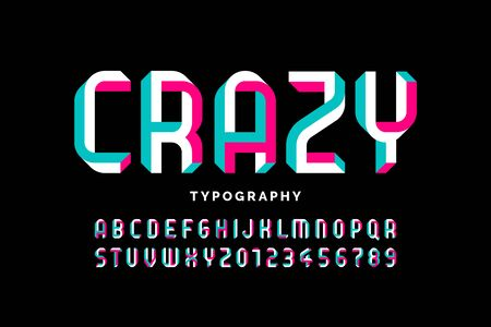 Impossible shape font design, alphabet letters and numbers