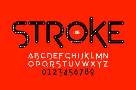Stroke line font design, Bezier curves style alphabet letters and numbers