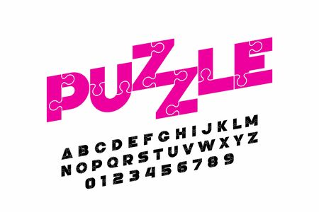 Puzzle font design, jigsaw puzzle alphabet and numbers