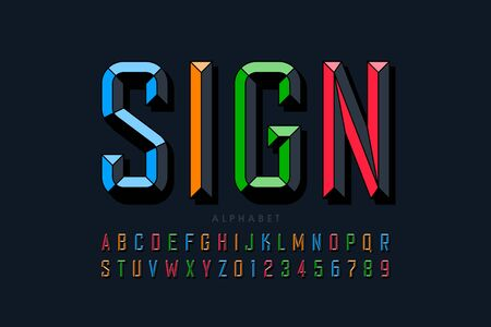 Modern chiseled style font design, alphabet letters and numbers