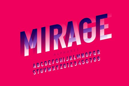 Modern optical illusion style font design, alphabet letters and numbers