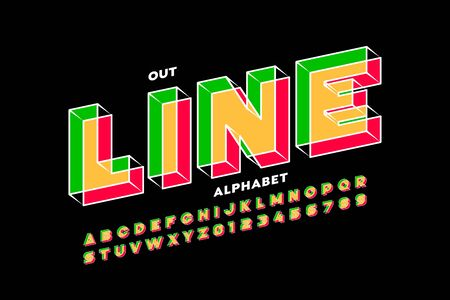 Outline style 3d font design, alphabet letters and numbers