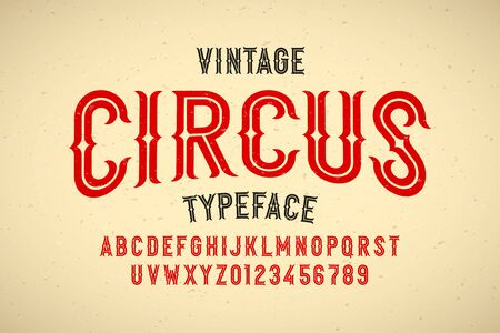 Vintage style Circus typeface, alphabet letters and numbers Ilustrace