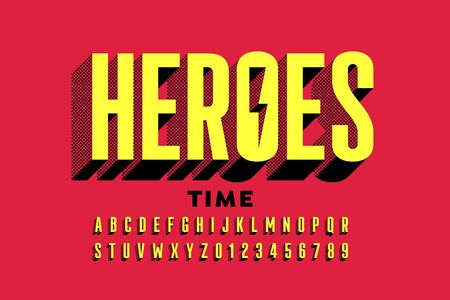 Super Hero style comics font, alphabet letters and numbers