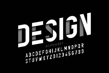 Modern style font, alphabet letters and numbers