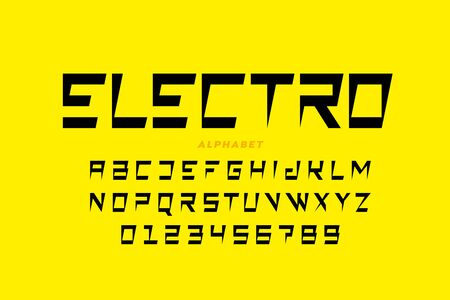 Electro style font, alphabet letters and numbers Ilustrace