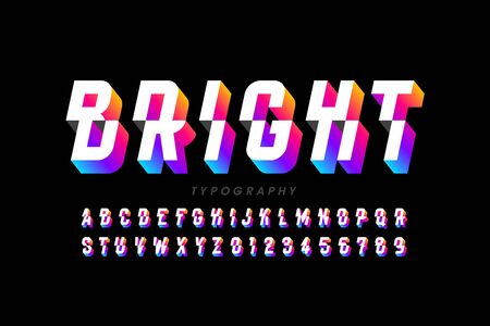 Modern style sliced font, alphabet letters and numbers