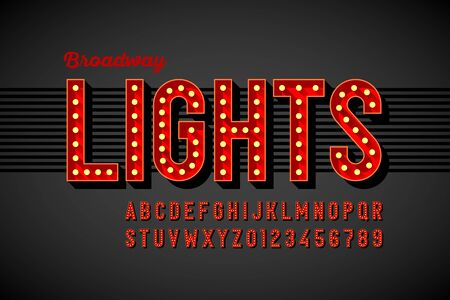 Broadway lights retro style font with light bulbs, vintage alphabet letters and numbers