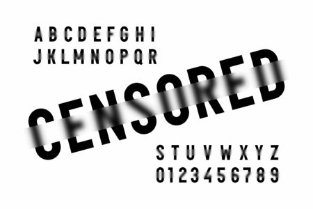 Censored style modern font, alphabet letters and numbers