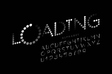 Loading bar style font, alphabet letters and numbers Ilustrace