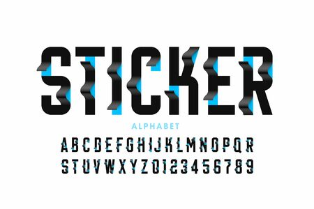 Sticker style font design, alphabet letters and numbers