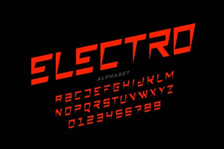 Electric style font, alphabet letters and numbers