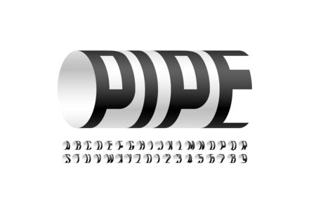 Modern font Pipe, three-dimensional alphabet letters and numbers