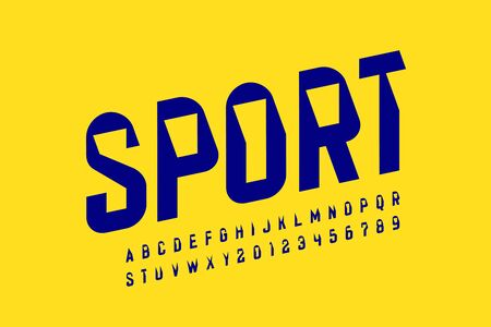 Sport style font design, modern sports alphabet, letters and numbers