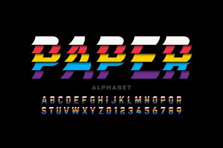 Glued paper sheets style font, alphabet letters and numbers