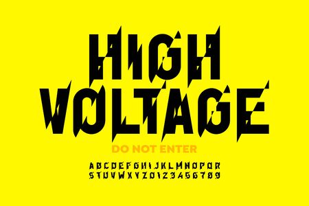 Hight voltage style font design, alphabet letters and numbers Ilustração