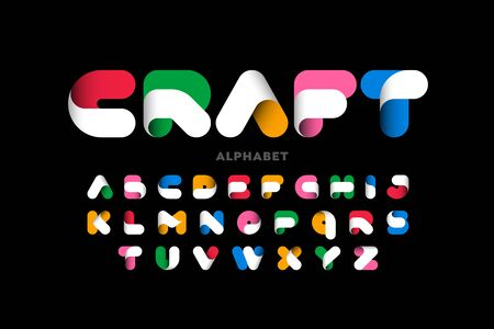Craft style colorful font design
