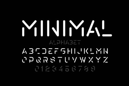 Minimal style font, alphabet letters and numbers Ilustrace