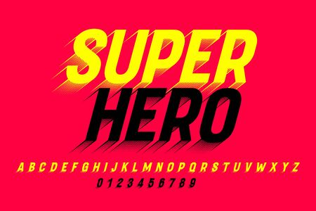 Super Hero comics style font, alphabet letters and numbers