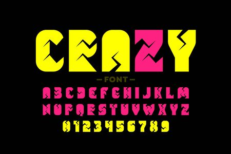 Crazy style font, alphabet letters and numbers,