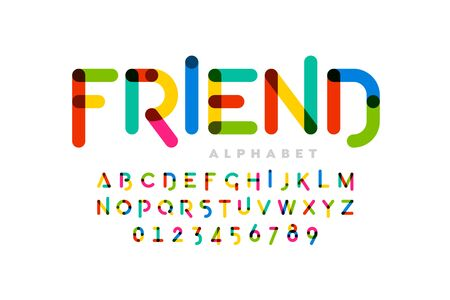 Playful childrens style colorful font design, alphabet letters and numbers