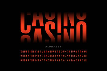 Casino slot machine style font design, alphabet letters and numbers