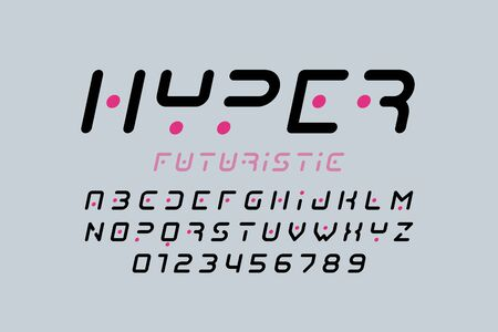Futuristic style font, alphabet letters and numbers Illustration