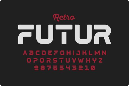Retrofuturism style font design, alphabet letters and numbers