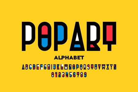 Pop art style font design, alphabet letters and numbers