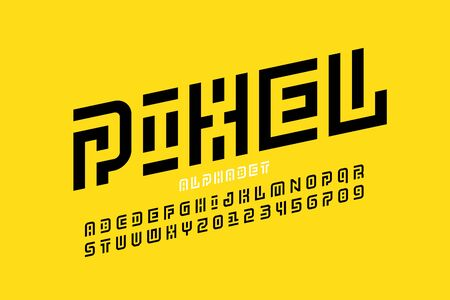 Pixel art style font design, alphabet letters and numbers