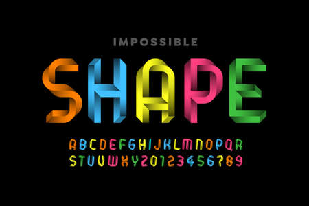 Impossible shape style font, alphabet letters and numbers