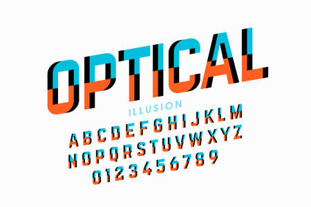 Optical illusion style font, alphabet letters and numbers