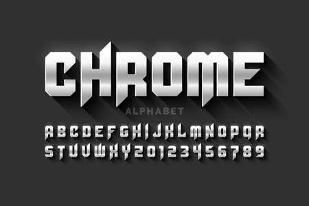 Matt chrome style, alphabet letters and numbers Vecteurs