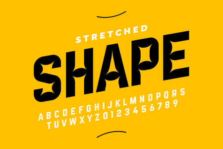 Stretched style font design, alphabet letters and numbers