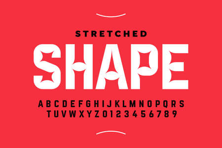 Stretched style font design, alphabet letters and numbers Иллюстрация