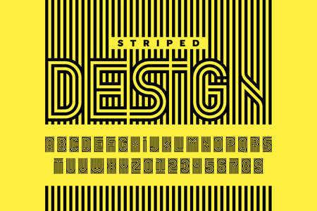 Striped design style font, alphabet letters and numbers