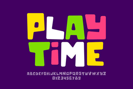 Playful style font design, playtime childish alphabet letters and numbers