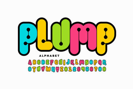 Plumpy style font, alphabet letters and numbers